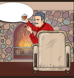 Man with cigar and wine near fireplace pop art vector