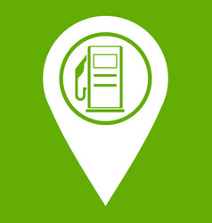 map pointer with gas station symbol icon green vector image