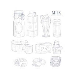 Milk and dairy products isolated icons hand drawn vector