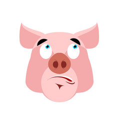 Pig surprised emoji piggy astonished emotion on vector