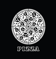 Pizza italy in black and white vector