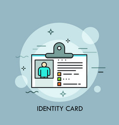 Plastic identity card id or passport with photo vector