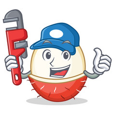 Plumber rambutan mascot cartoon style vector