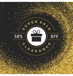 Sale label or tag design on gold background vector