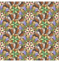 Seamless pattern of feathers leafs and flowers vector image vector image
