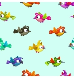 Seamless pattern with cute cartoon little birds vector image vector image