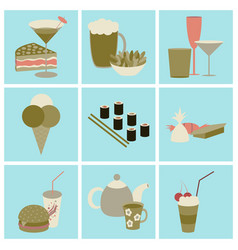 Set icons in flat design street food vector