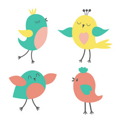 Set of colorful cute birds vector