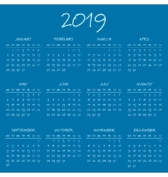 Simple 2019 year calendar vector image