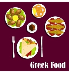 Traditional greek cuisine dinner flat icon vector