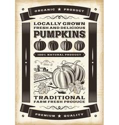 Vintage pumpkin harvest poster vector image vector image