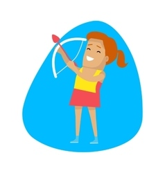 Woman archery sports icon vector