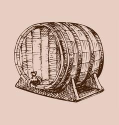 wooden barrel vintage old hand drawn sketch vector image
