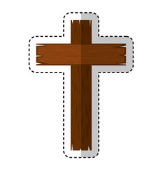 wooden cross religious icon vector image vector image