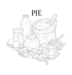 Pie baking components still life hand drawn vector