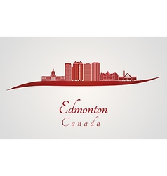 Edmonton v2 skyline in red vector