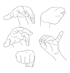 Hands set outline part 6 Fist fico pinch and vector image