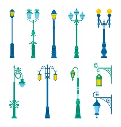 Detailed vintage street lamps and lantern set vector