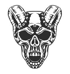 Skull horned demon vector