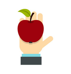 apple in hand icon flat style vector image