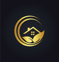 Home gold leaf nature logo vector