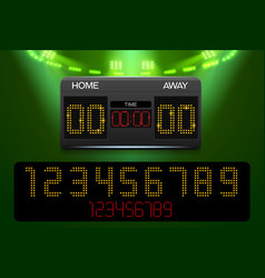 Scoreboard with time and result display and vector