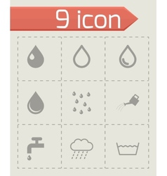 Black water icon set vector