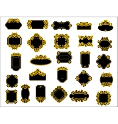 Black and yellow borders or frames vector