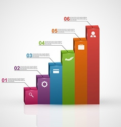 3D chart style infographic design template vector image