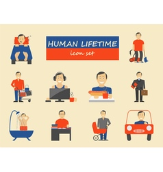 How much time we have lifetime elements icon set vector