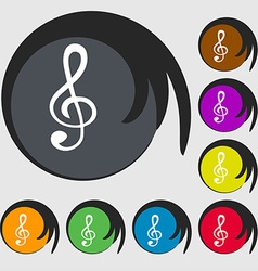 Treble clef icon symbols on eight colored buttons vector