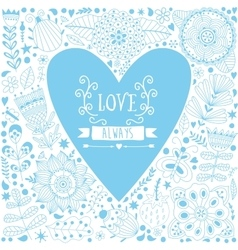 Valentine template greeting card with flowers in vector