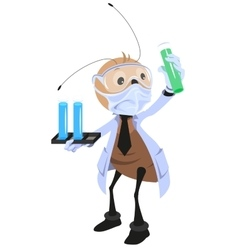 Ant scientist holding flask vector