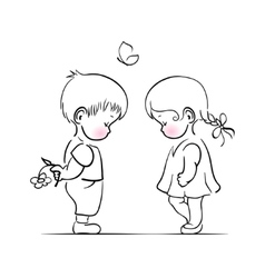 Shying boy and girl hand drawing vector