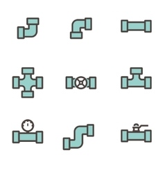 Line flat pipe fittings icon set vector