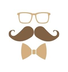 glasses mustache bowtie icon vector image