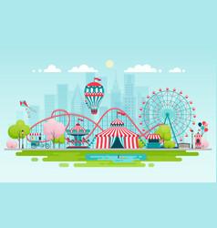 Amusement park urban landscape vector