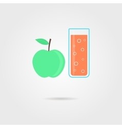 apple and glass of orange juice with shadow vector image