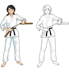 Asian Nunchuck girl in karategi vector image