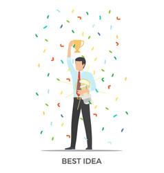 Best idea triumph on white vector