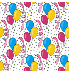 Birthday pattern with colorful balloons seamless vector