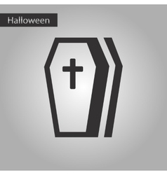 Black and white style icon halloween coffin vector