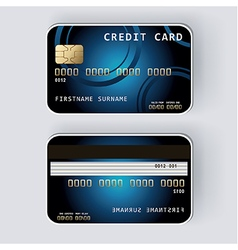 Blue credit card Banking concept front and back vector image