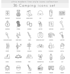 Camping ultra modern outline line icons for vector image vector image