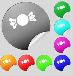 candy icon sign Set of eight multi colored round vector image