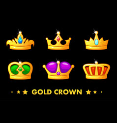 cartoon golden crown icons vector image