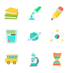 Children education icons set cartoon style vector