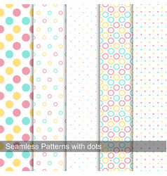 Collection of dotted seamless patterns vector