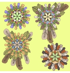 Collection of mandalas of feathers and leaves in vector