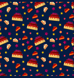 colorful birthday cakes seamless pattern vector image vector image